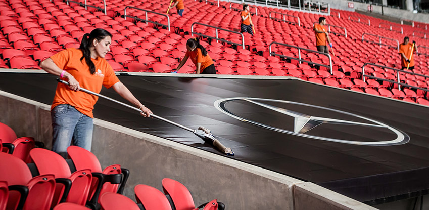 Level Seven staff cleaning a stadium
